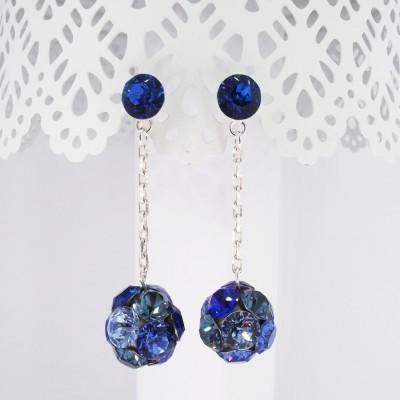 Cercei argint cu cristale Swarovski Blue Rocking Stones