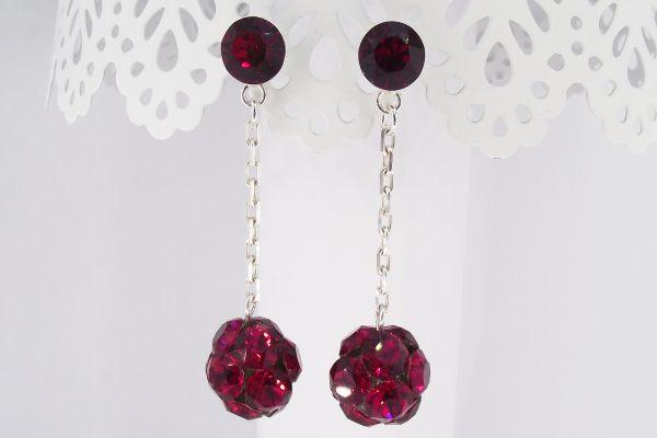 Cercei argint cu cristale Swarovski Scarlet Rocking Stones