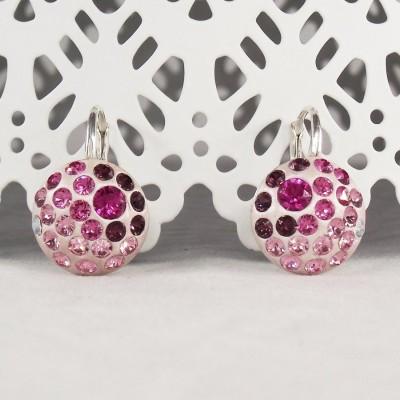 Cercei argint cu cristale Swarovski Pink Glitter