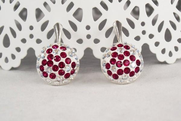Cercei argint cu cristale Swarovski Ruby Sparkle