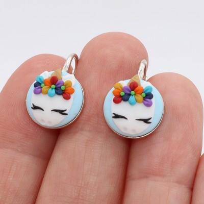 Cercei argint Happy Unicorn Rainbow