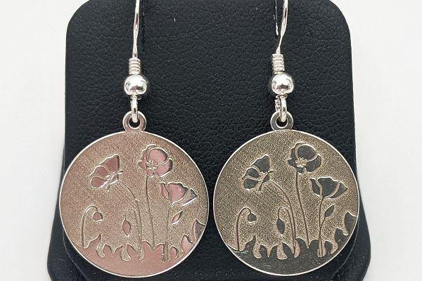 Cercei argint cu flori de mac Spring Flower