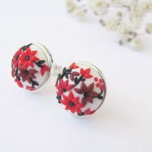 Cercei Red Blossom cu șurub