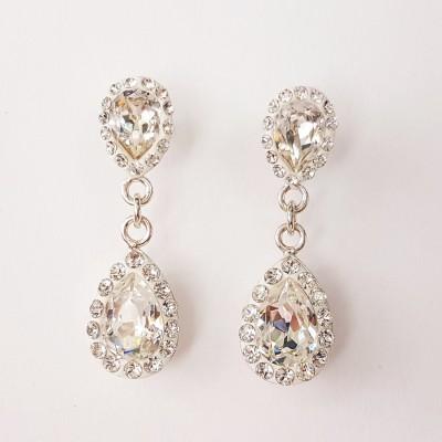 Cercei argint cu cristale Swarovski Pure Romance