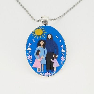 Pandantiv oval personalizat Family Moments