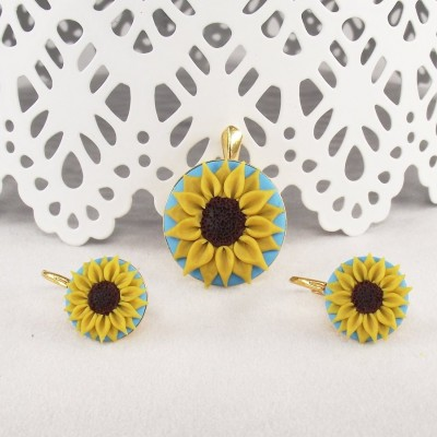 Set argint placat cu aur Sunflower