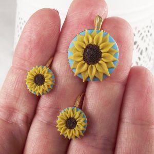 Set argint placat cu aur Sunflower (floarea soarelui)