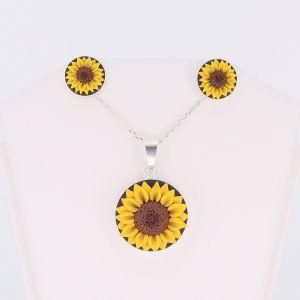 Set cercei cu pandantiv Sunflower (floarea soarelui)
