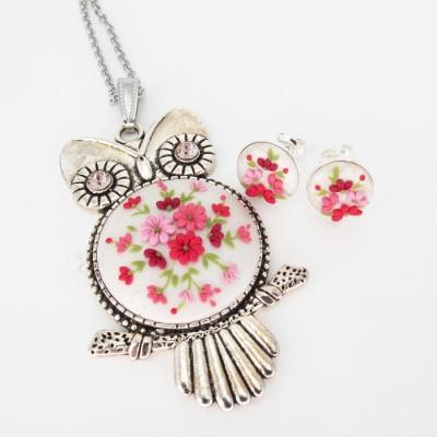 Set bijuterii Bufniță cu flori