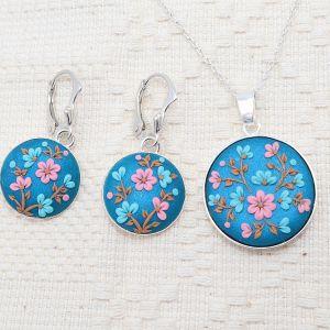 Set Flower Island (cercei cu pandantiv și lant din argint)