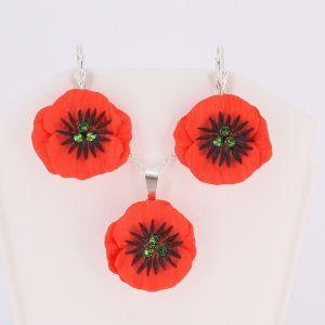 Set Poppy Flower (cercei cu pandantiv si lant din argint)